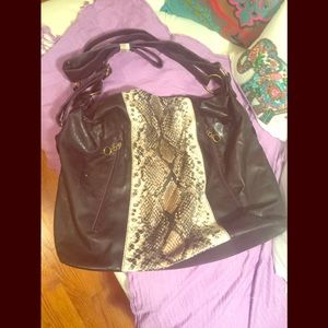 Large Tote w/animal print accent